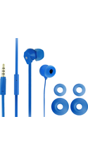 FuseBox Flat Cord Earphones w/Mic and S/M/L Cushions Blue BP Cushions are S/M/L