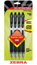 Zebra Pen Sarasa Retractable Gel Pen - Black .7mm 4Pk BP