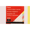 Mead Colored Index Card - Asst 3x5in 100Ct Bulk Ruled