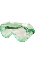DR Instruments Economy Chemical Splash and Impact Protective Goggles - Green Adjustable 1Pk BP ANSI Approved