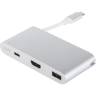 Moshi USB-C Multiport Adapter - Silver 3A-5Gbps-60Hz-1080p BP USB-C (Male) - USB-C (Female)-USB-HDMI