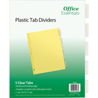 Office Essentials Insertable Economy Divider - Buff w-Clear Tabs 8.5x11in Bulk 5 Tab