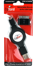 ZipKord Retractable Micro USB Cable & 30pin iPhone Tip