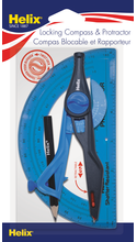 Helix Plastic Locking Protractor and Compass Set