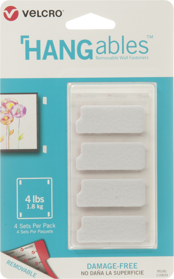 HANGables Removable Wall Fasteners Strips White, PACKAGE 4Pk