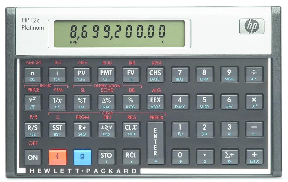 12C Platinum Financial Calculator  Black/Silver, PACKAGE 1Pk