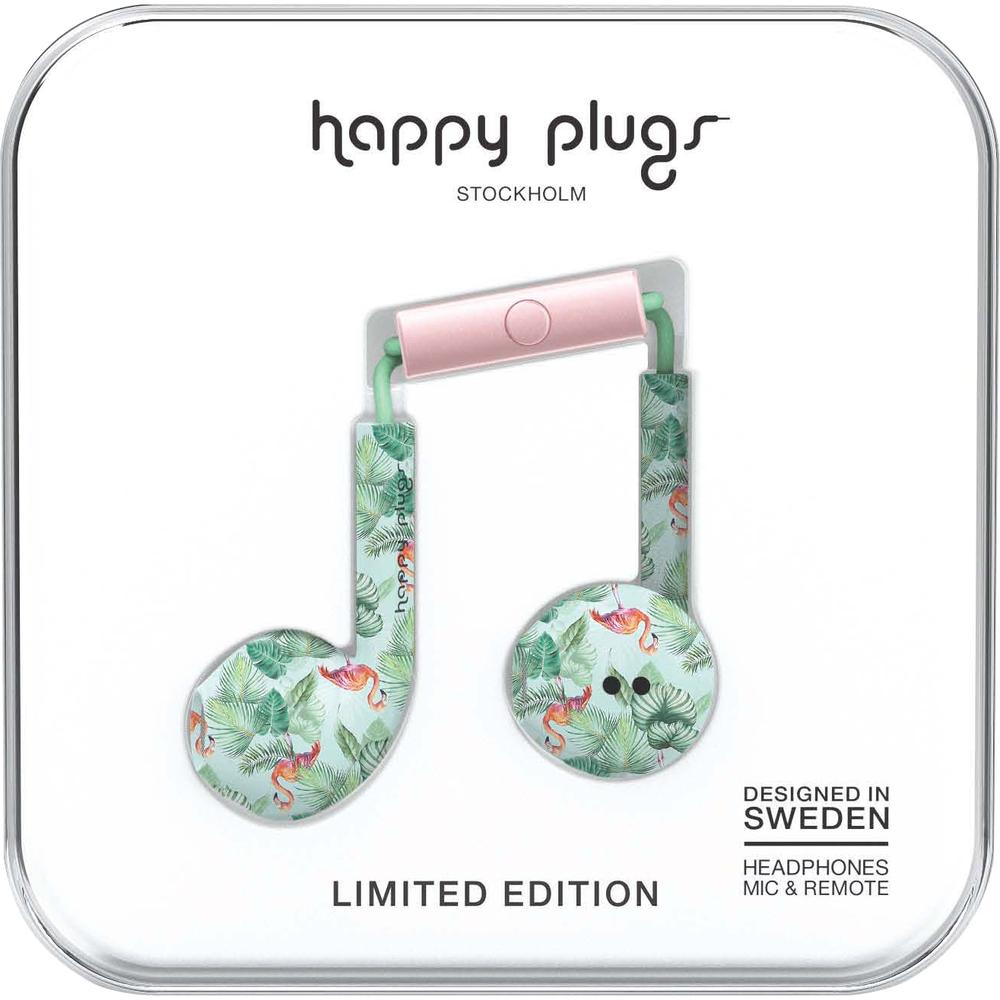 Happy Plugs Earbuds- Flamingo image