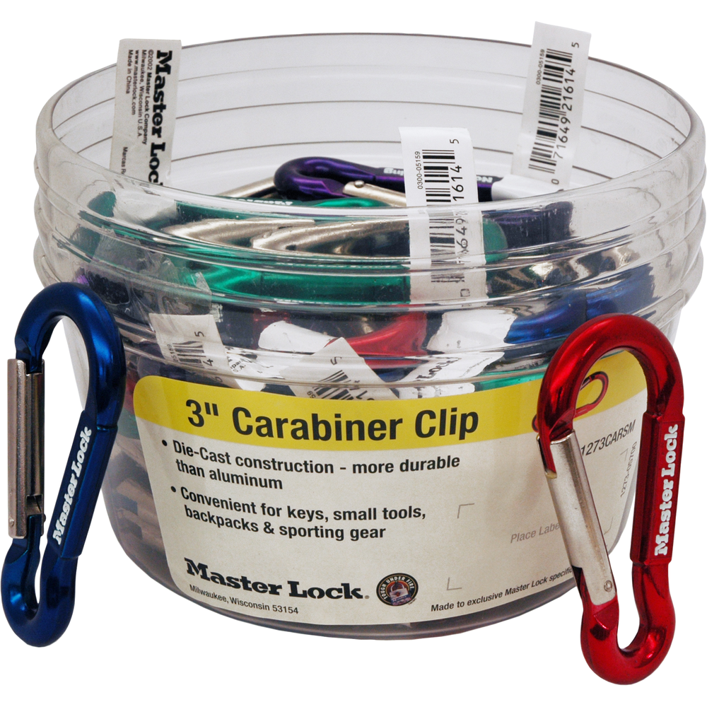 Carabiner Display Metallic/Barcoded Asst, PACKAGE 40Ct