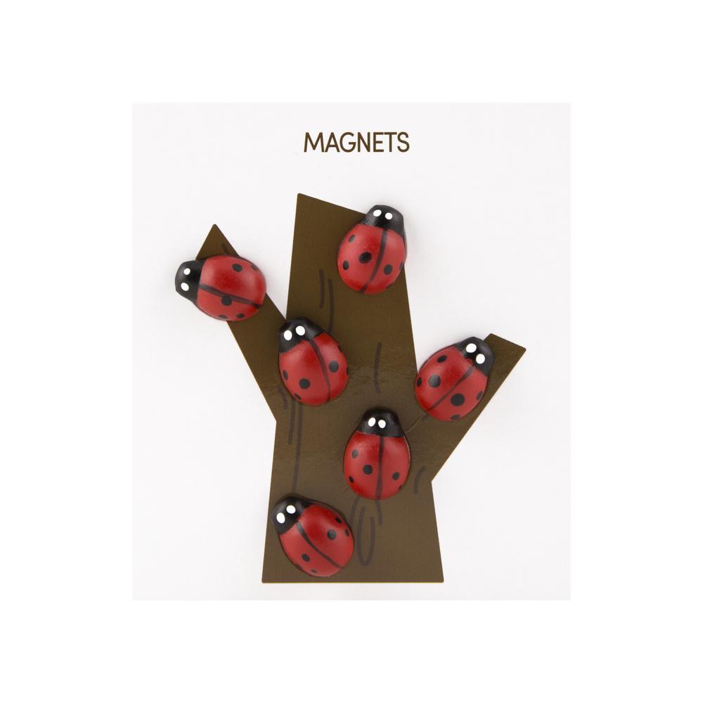 Polyresin Animal Magnets Ladybug Multi, PACKAGE 6Pk