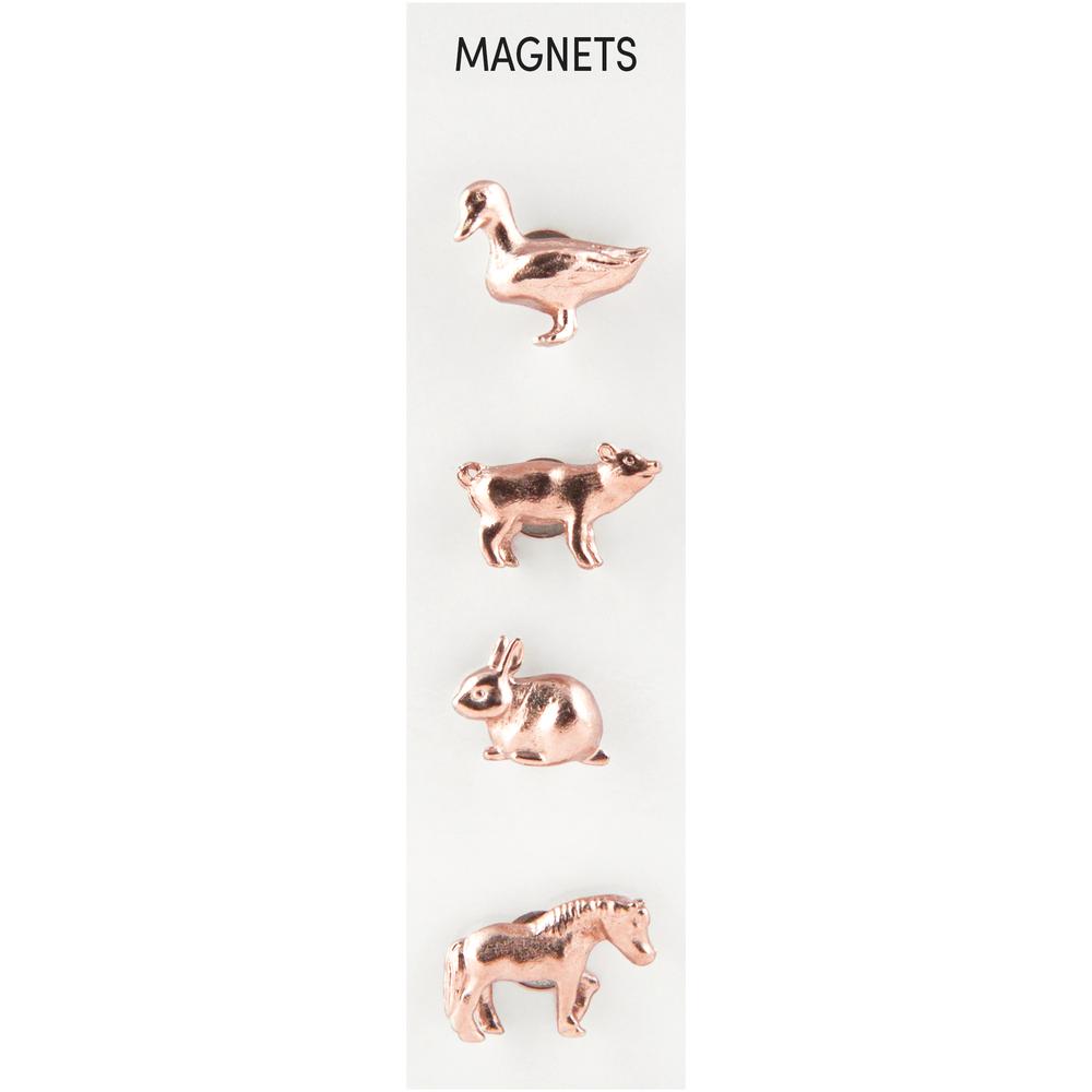 Cast Animal Magnets Farm Copper, PACKAGE 4Pk