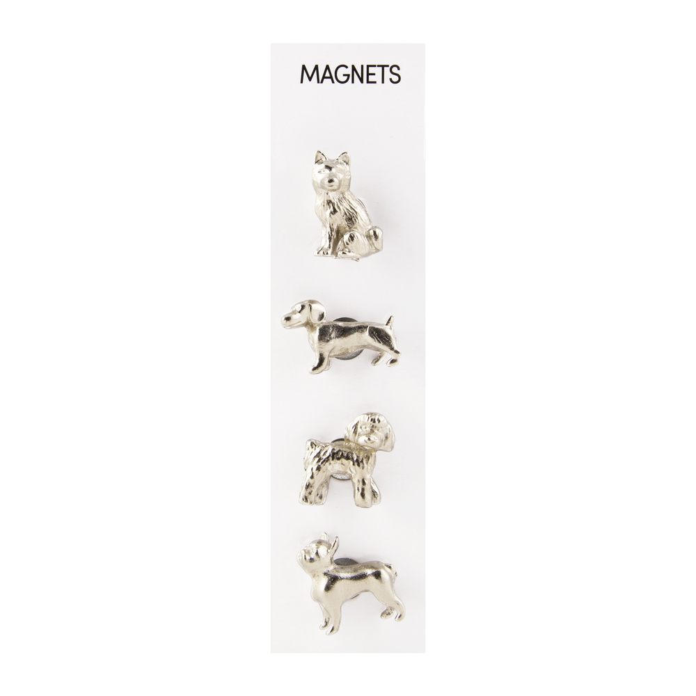 Cast Animal Magnets Dogs Silver, PACKAGE 4Pk