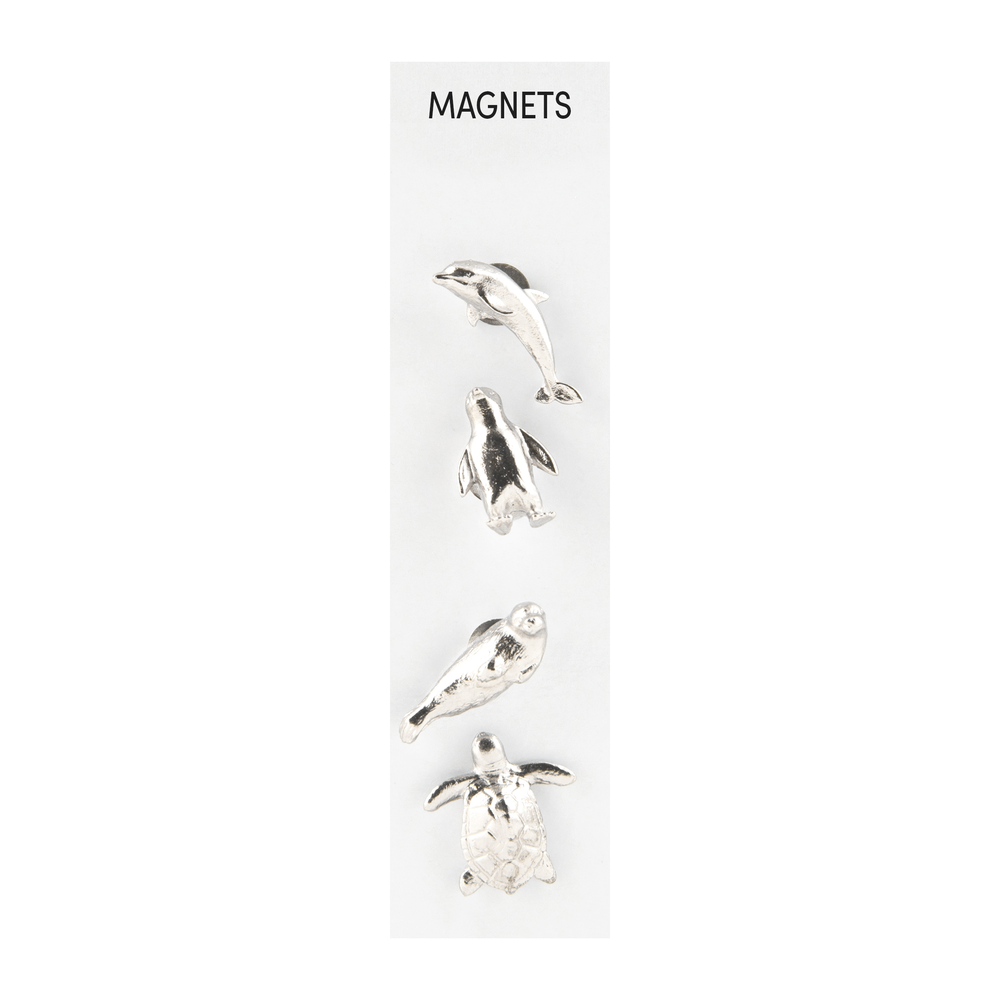 Cast Animal Magnets Marine Silver, PACKAGE 4Pk