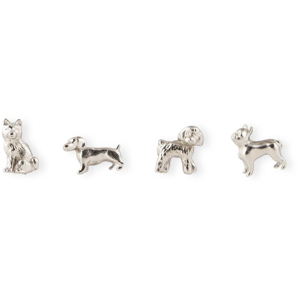 Cast Animal Magnets Dogs Pewter, PACKAGE 4Pk