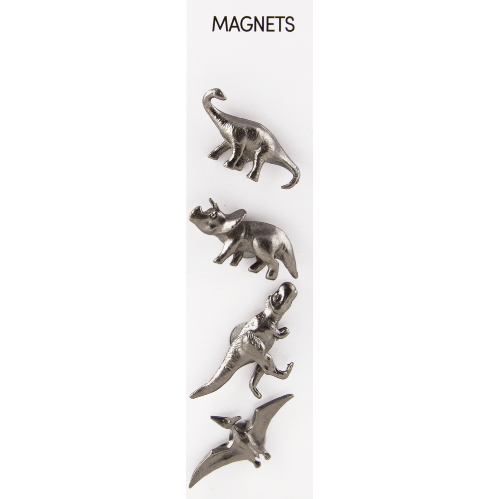 Cast Animal Magnets Dinosaurs Pewter, PACKAGE 4Pk