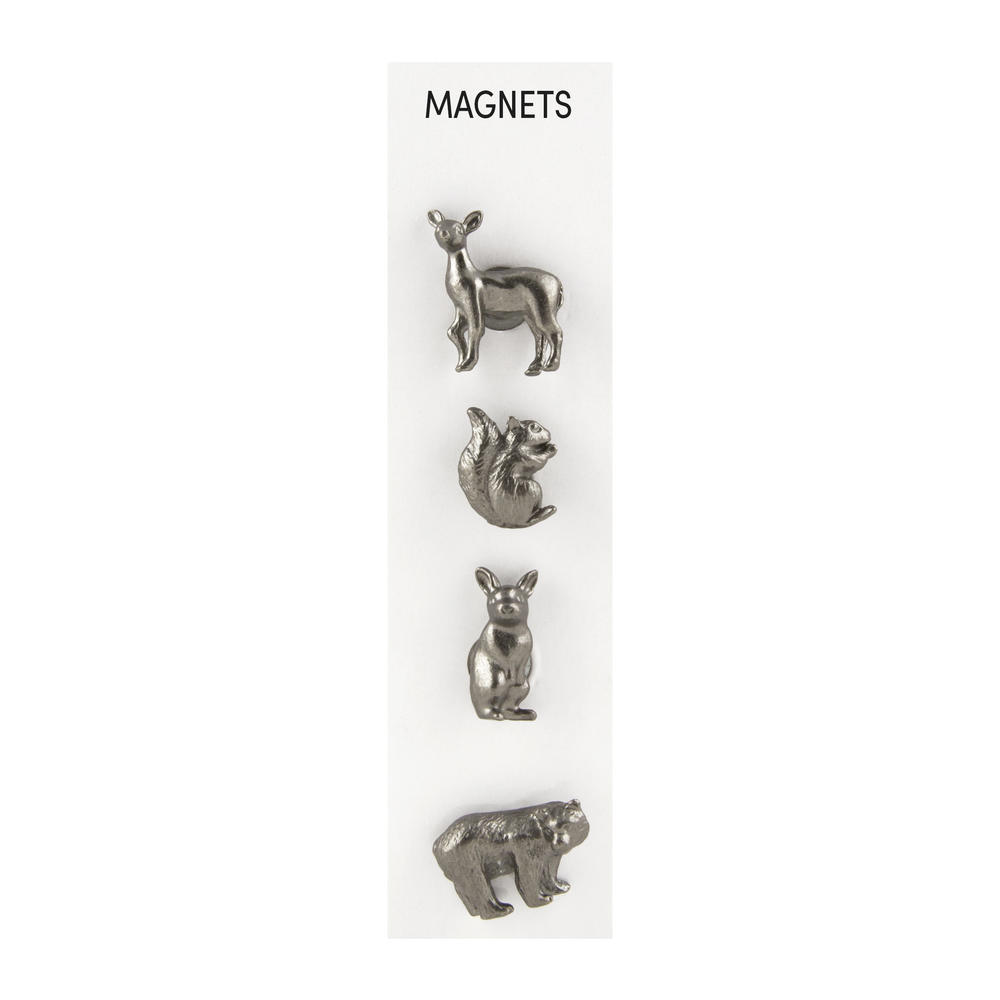 Cast Animal Magnets Forest Pewter, PACKAGE 4Pk