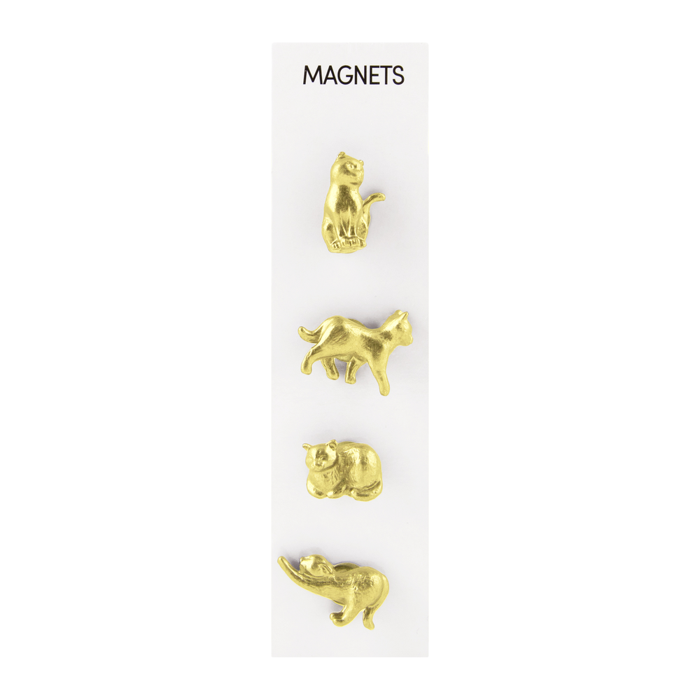 Cast Animal Magnets Cats Gold, PACKAGE 4Pk