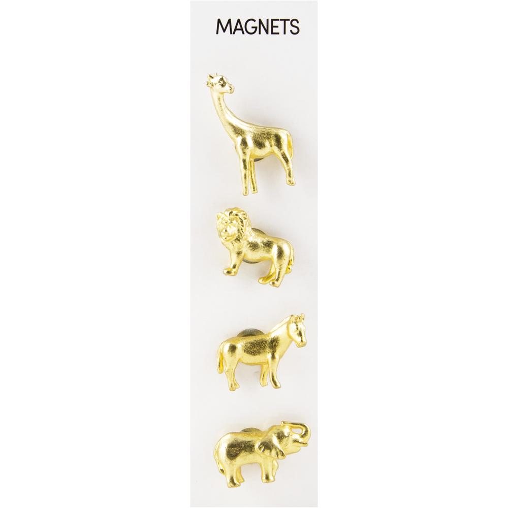 Cast Animal Magnets Safari Gold, PACKAGE 4Pk