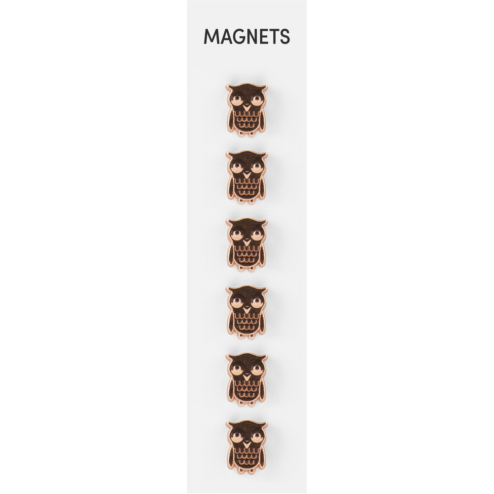 Flat Cast Magnets Owls Copper, PACKAGE 6Pk