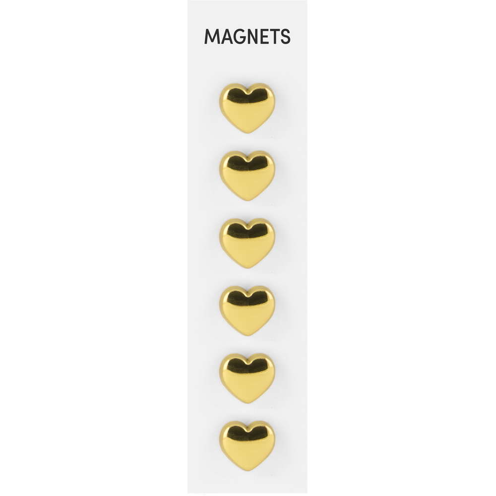 Flat Cast Magnets Hearts Gold, PACKAGE 6Pk