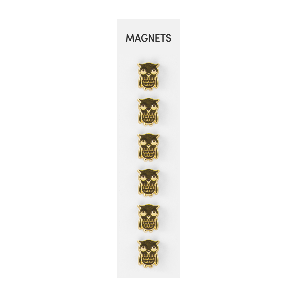 Flat Cast Magnets Owls Gold, PACKAGE 6Pk