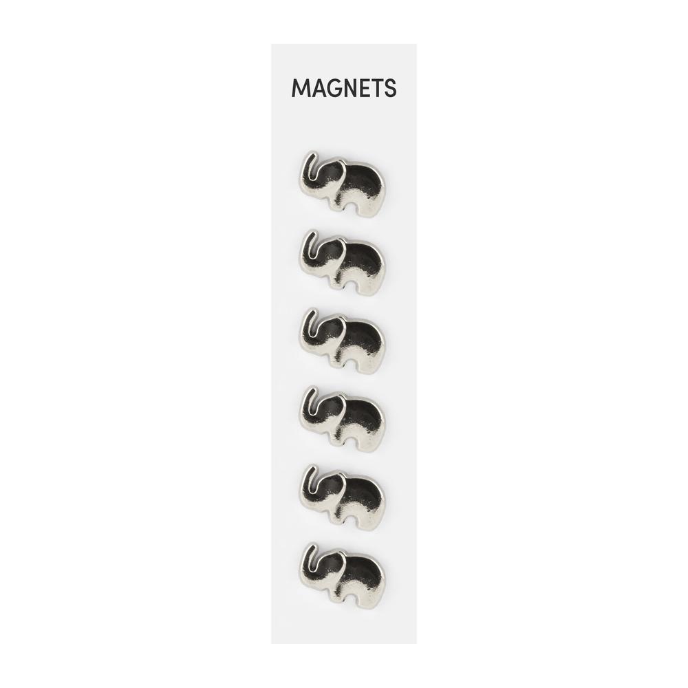 Flat Cast Magnets Elephants Silver, PACKAGE 6Pk