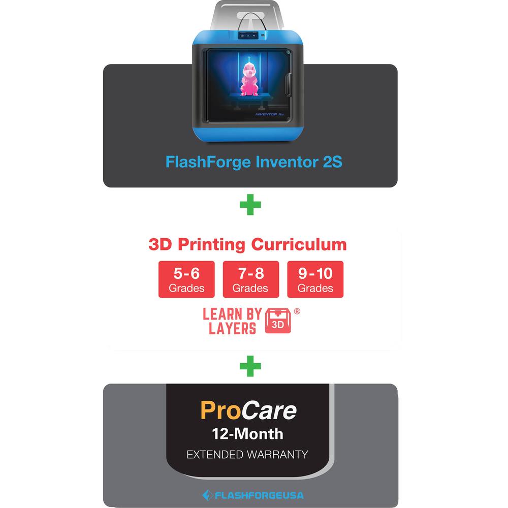 Inventor 2S 3D Printer w/ 3D Printing Curriculum  Blue/White