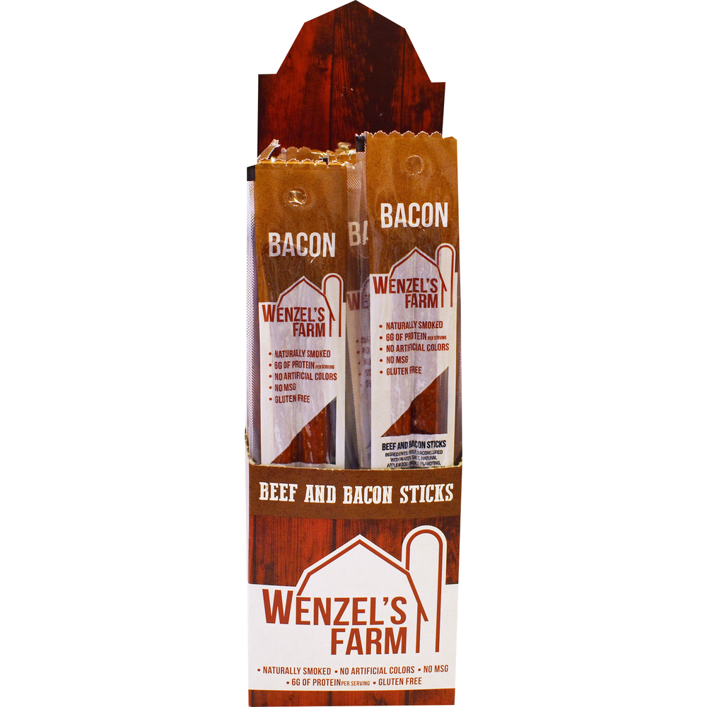 Beef Snack Stick Display 2Pk/Bacon , PACKAGE 16Ct