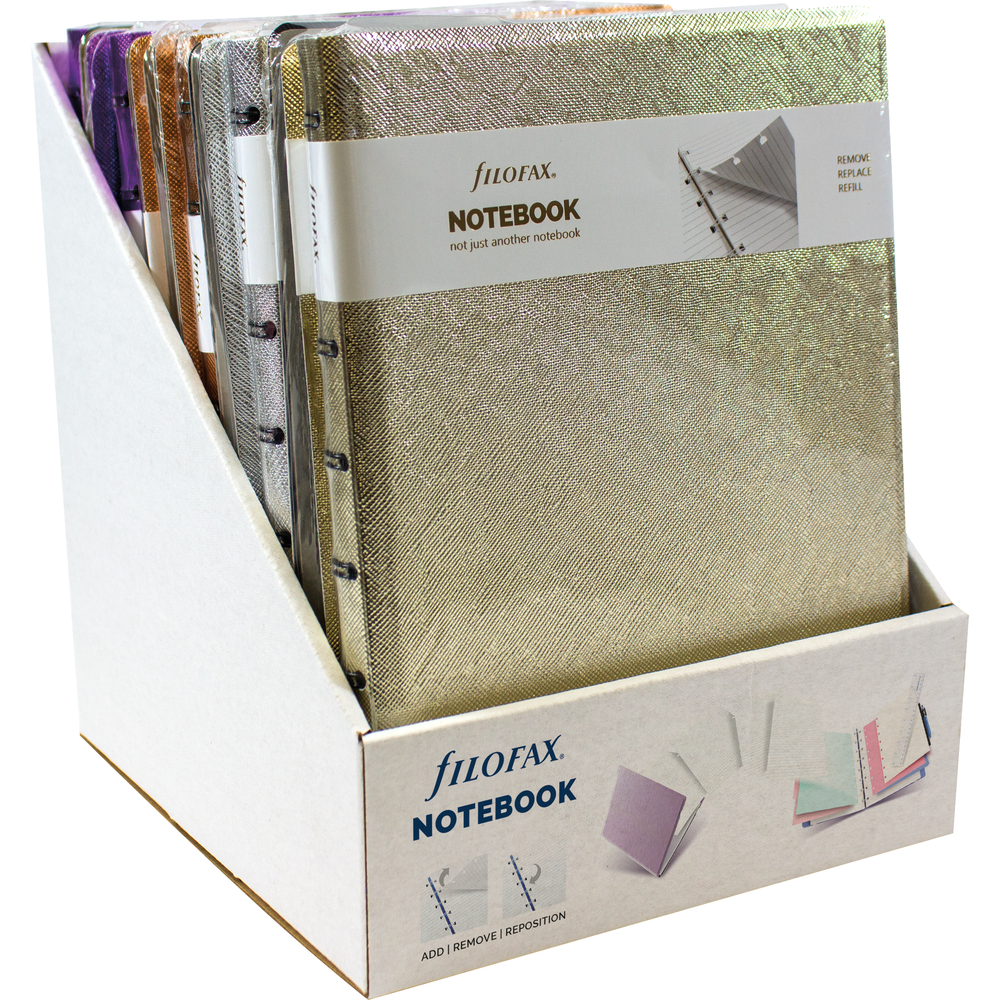 Filofax Notebook Display Metallic Collection Asst, PACKAGE 10Ct