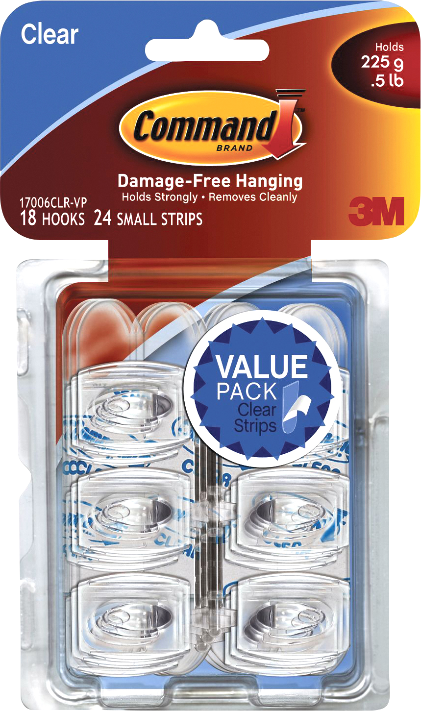 Command Adhesive Hook Value Pack Clear, PACKAGE 18Pk