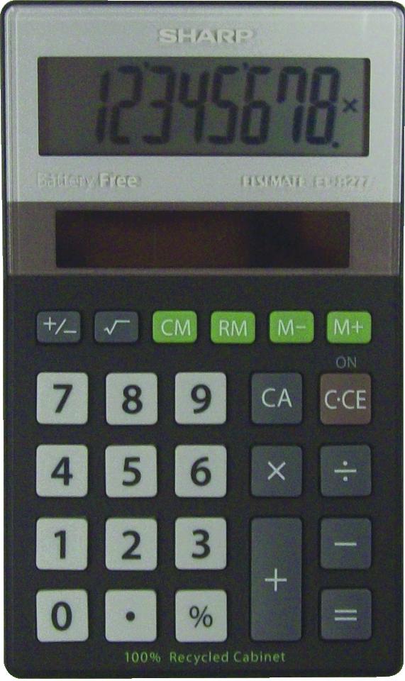 EL-R277BBK Eco-concept Handheld Basic Calculator  Black, PACKAGE 1Pk