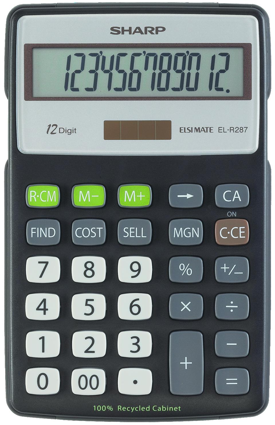 EL-R287BBK Eco-concept Semi-Desk Calculator  Black, PACKAGE 1Pk