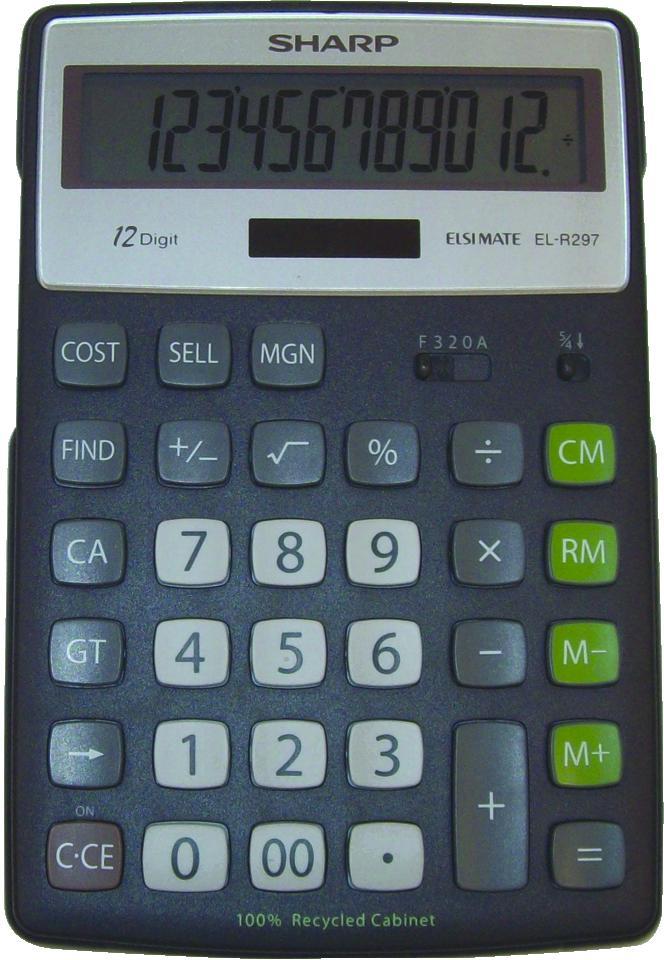EL-R297BBK Eco-concept Desktop Calculator  Black, PACKAGE 1Pk
