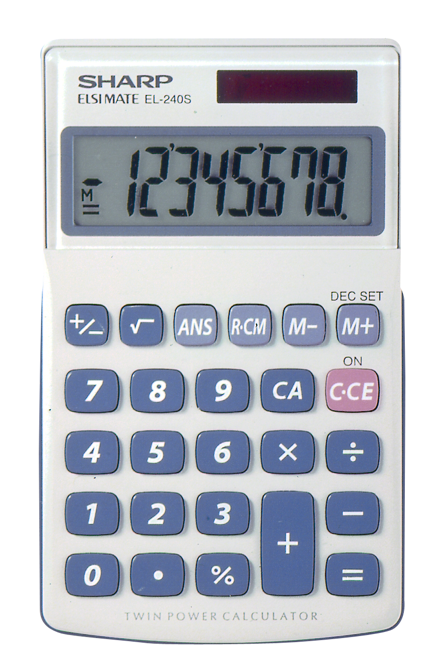 EL-240SAB Basic Calculator  White, PACKAGE 1Pk