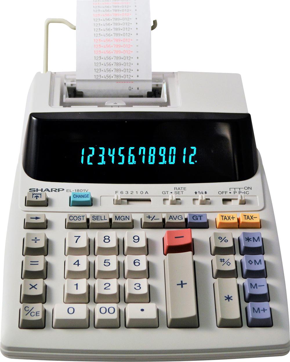EL-1801V Printing Calculator  White, PACKAGE 1Pk
