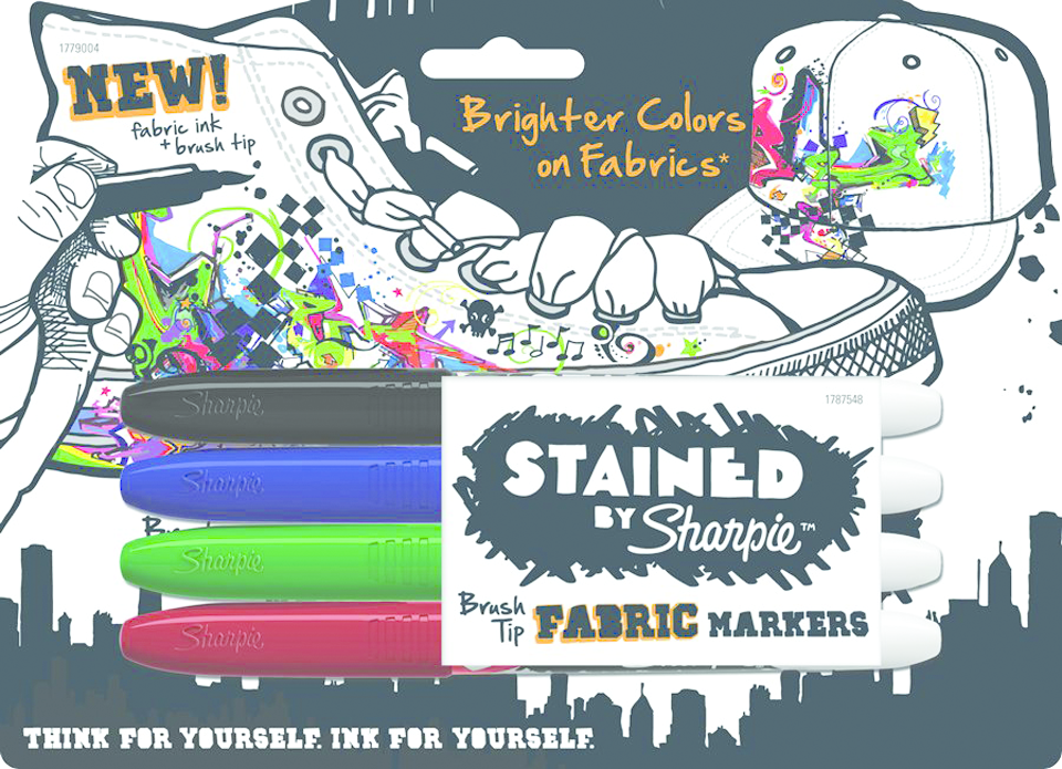 Sharpie Stained Fabric Permanent Marker  Asst, PACKAGE 4Pk