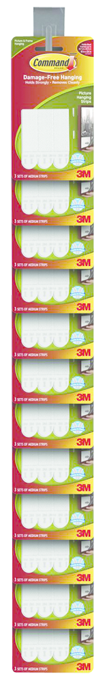 Command Adhesive Picture Hanging Strips  White, PACKAGE 12Ct