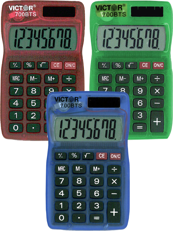 700BTS Pocket Calculator in Bright Colors  Asst, PACKAGE 1Pk