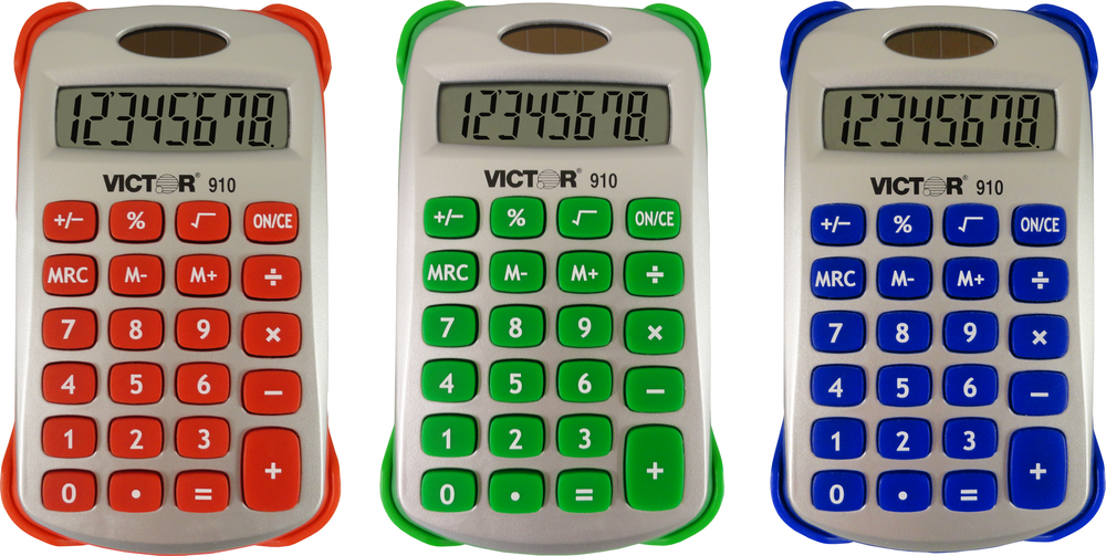 910 Handheld Calculator with Cover  Asst, PACKAGE 1Pk