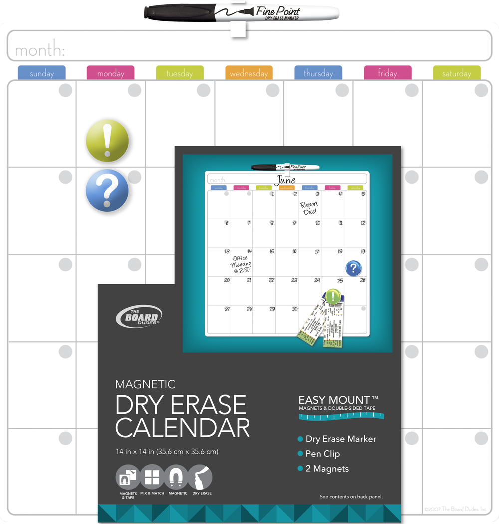 Dry Erase Calendar Board : Magnetic dry erase calendar search results